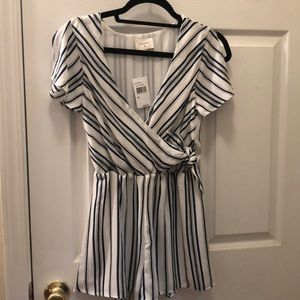 Everly Navy striped romper